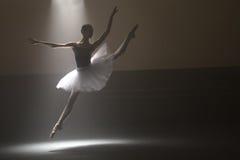 Ballerina i den vita ballerinakjolen Arkivfoton