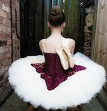 Ballerina i en trädgård Arkivfoto
