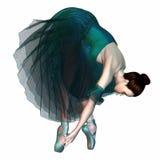 Ballerina i gröna Tutu och Pointe skor Royaltyfri Fotografi