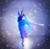 Ballerina i snöflingor royaltyfri fotografi