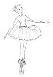 ballerina Ilustração tirada do vetor do vintage mão preto e branco Imagens de Stock