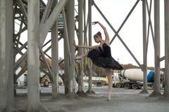 Ballerina In Black Tutu Royalty Free Stock Photo