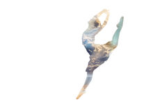 Ballerina in a jump double exposure Stock Images