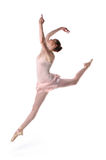 Ballerina Jumping. Isolated over a white background Stock Photos