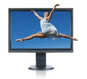 Ballerina jumping out of a monitor Stock Photography