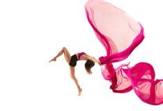 ballerina Junges würdevolles weibliches Balletttänzertanzen über weißem Studio Schönheit des klassischen Balletts lizenzfreie stockfotografie
