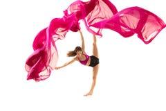 ballerina Junges würdevolles weibliches Balletttänzertanzen über weißem Studio Schönheit des klassischen Balletts lizenzfreies stockfoto