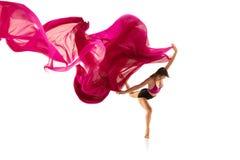 ballerina Junges würdevolles weibliches Balletttänzertanzen über weißem Studio Schönheit des klassischen Balletts stockbild
