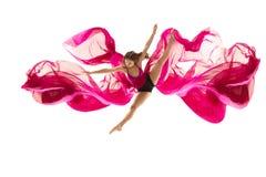 ballerina Junges würdevolles weibliches Balletttänzertanzen über weißem Studio Schönheit des klassischen Balletts lizenzfreie stockfotos