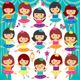 Ballerina kids clip art set Royalty Free Stock Photography