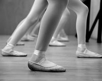 Ballerina Legs. In Black and White stock photography