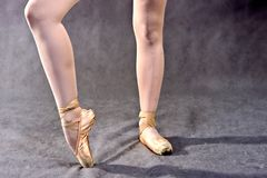 Ballerina legs in pointe shoes on grey background. royalty free stock photo