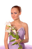 Ballerina with lily Stock Images