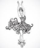 Ballerina med klänningen för blom- prydnad Dragen vektor för tappning svartvit hand stock illustrationer