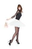 Ballerina mit Ballett pointes Schuhen auf Weiß lizenzfreie stockfotografie