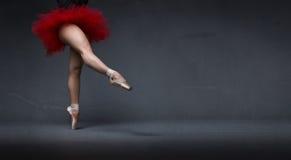 Ballerina mit dem Ballettröckchen angezeigt mit Fuß stockbild