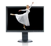 Ballerina and monitor. Ballerina andLCD monitor isolated over a white background Stock Image