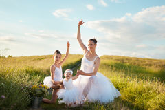 Ballerina mother and daughters Stock Photo