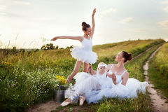 Ballerina mother and daughters Royalty Free Stock Photos