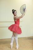Ballerina nel colore rosso Fotografia Stock