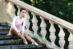 Ballerina outdoors Royalty Free Stock Image