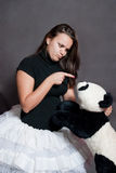 Ballerina with panda Stock Photos