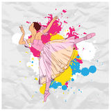 Ballerina on a paper-background. royalty free stock image