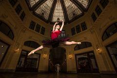 Ballerina performer in the city Stock Photos