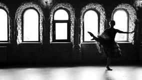 Ballerina performing dance moves, slow motion. Female dancer practicing ballet dance. Monochrome style stock video footage