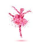 Ballerina of pink rose petals. Vector ballerina silhouette of pink rose petals royalty free illustration