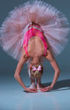 Ballerina in pink tutu leaning forward. On blue background Royalty Free Stock Images