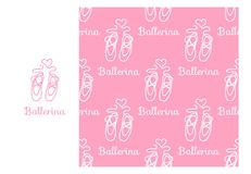 Vector Ballerina Pointe. Seamless repeating pattern isolated on pink background. Modern Design for Girls stock illustration