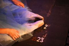 Ballerina in pointe shoes behind the scenes. Ballerina in pointe shoes, sitting on the floor behind the scenes in the intermission of the ballet stock image