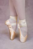 Ballerina on points. Ballet shoes close-up Royalty Free Stock Images