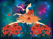 Ballerina and poppies Stock Image