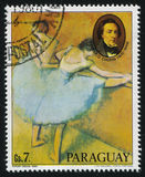 Ballerina and the Portrait of Chopin by Edgar Degas. RUSSIA KALININGRAD, 15 APRIL 2017: stamp printed by Paraguay, shows Painting of Ballerina and the Portrait stock photos