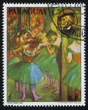 Ballerina and the Portrait of Richard Wagner by Edgar Degas. RUSSIA KALININGRAD, 15 APRIL 2017: stamp printed by Paraguay, shows Painting of Ballerina and the stock photos