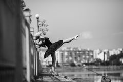Ballerina posing on a background of the lake Royalty Free Stock Images