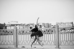 Ballerina posing on a background of the lake Stock Image