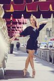 Ballerina posing in the center of Moscow city. Allerina posing in the center of Moscow city Royalty Free Stock Photo