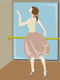 Ballerina posing next to pole and mirror. Youthful sketch style ballerina dancer moving Royalty Free Stock Image