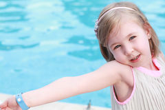 Ballerina position at the pool Stock Image