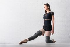 Ballerina practicing on the floor of her art studio stock photos