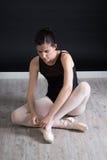 Ballerina preparing herself Royalty Free Stock Image