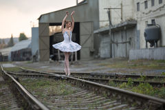Ballerina on rails Stock Photo
