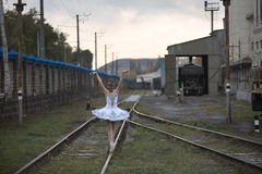 Ballerina on rails Stock Photography