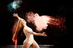 Ballerina red blue powder Stock Photo