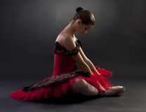 Ballerina in red tutu royalty free stock images