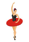 Ballerina in a red tutu Stock Images