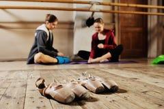 Ballerina in rehearsal or training. Beautiful young ballerina rehearsal in ballet class Royalty Free Stock Photo